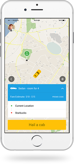 taxi booking app developed by appyunix